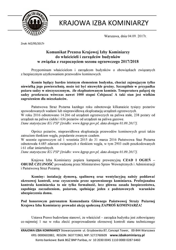 Komunikat Prezesa Krajowej Izby Kominiarzy 20171.png