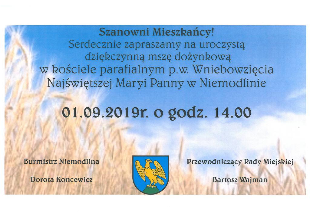Zaproszenie msza Dożynkowa 2019.jpeg