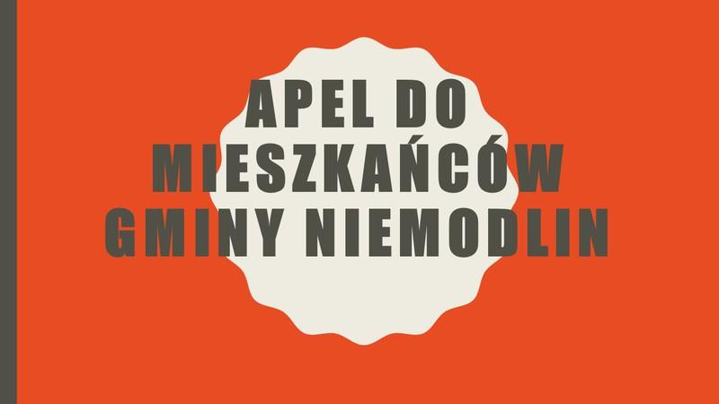 APEL DO MIESZKAŃCÓW GMINY NIEMODLIN