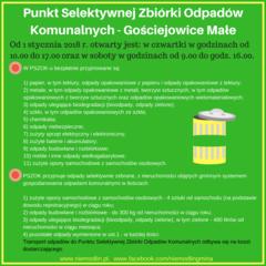 Punkt Selektywnej Zbiórki Odpadów Komunalnych - Gościejowice MałeOd 1 stycznia 2018 r. otwarty jest_ w czwartki w godzinach od 10.00 do 17.00 oraz w soboty w godzinach od 9.00 do godz. 16.00..png